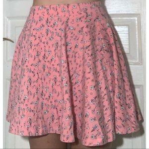 Pink Flower Skater Skirt